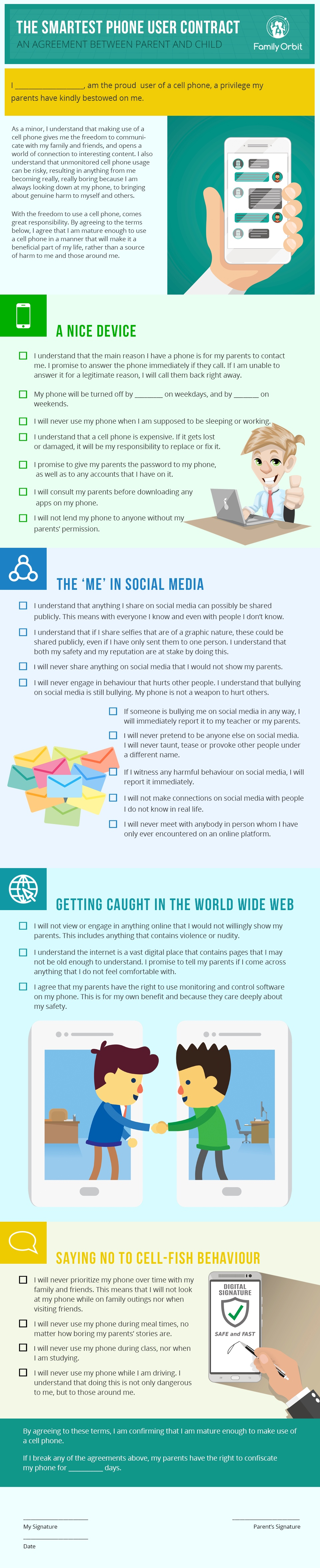 Cell Phone Contract for Tweens and Teens: Print or Download - An Infographic from Family Orbit Blog